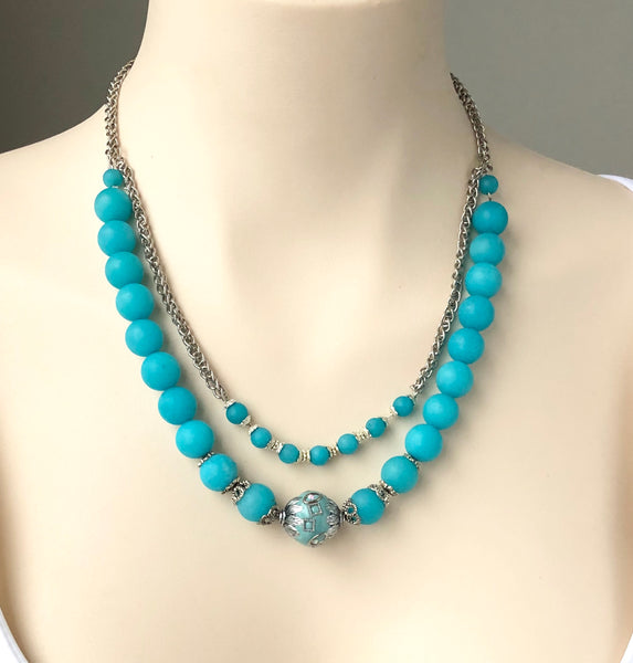 BLUE QUARTZ HANDMADE SILVER NECKLACE