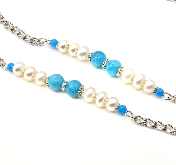 APATITE GEMSTONE AND PEARL HANDMADE SILVER EYEGLASS CHAIN