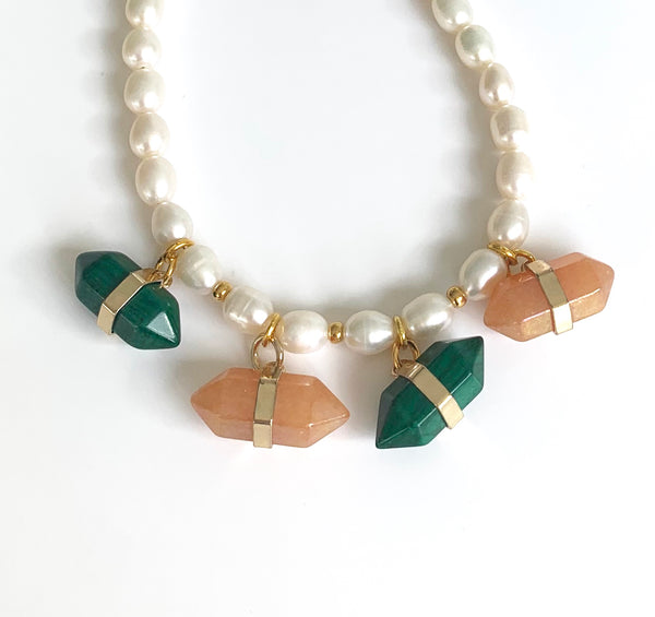 PEARL MALACHITE AND JADE GEMSTONES HANDMADE GOLD NECKLACE