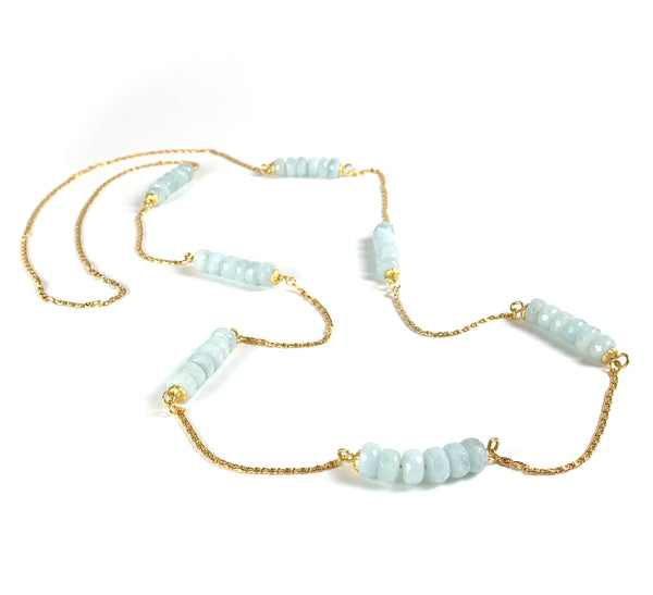 AQUAMARINE GEMSTONE LONG HANDMADE GOLD NECKLACE