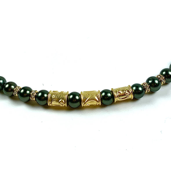 DARK OLIVE GREEN MOTHER OF PEARL GOLD HANDMADE CHOKER NECKLACE