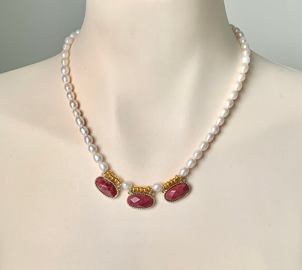 RED JADE AND PEARL GOLD HANDMADE NECKLACE