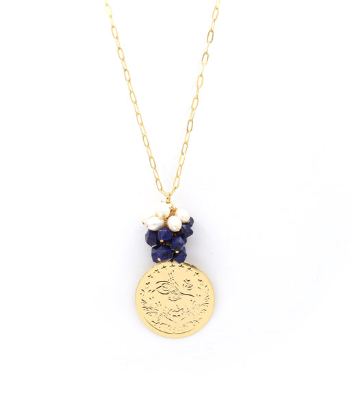 LAPIS LAZULI GEMSTONE PEARL AND GOLD COIN HANDMADE NECKLACE