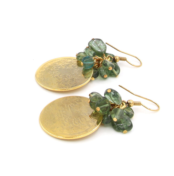 PERIDOT GEMSTONE AND GOLD COIN HANDMADE EARRINGS