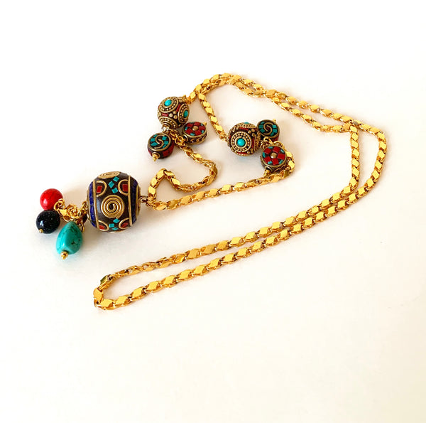 ENAMELLED GOLD CLAY BEADS HANDMADE LONG NECKLACE
