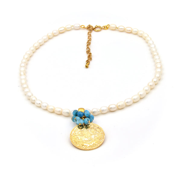 APATITE GEMSTONE PEARL AND GOLD COIN HANDMADE NECKLACE
