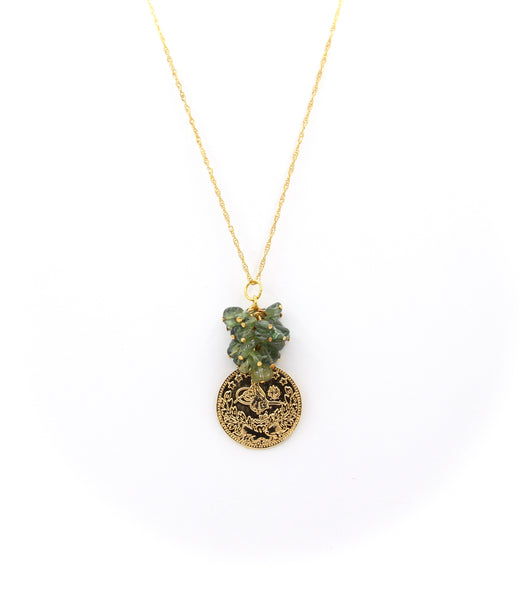 PERIDOT GEMSTONE AND GOLD COIN HANDMADE NECKLACE