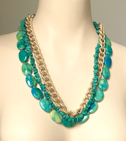 BLUISH GREEN CHUNKY NECKLACE