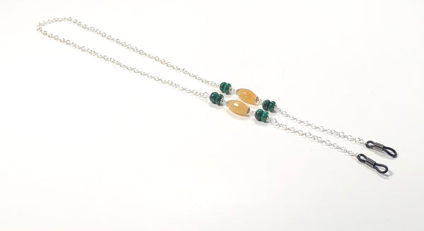 JADE MALACHITE SILVER EYEGLASS CHAIN