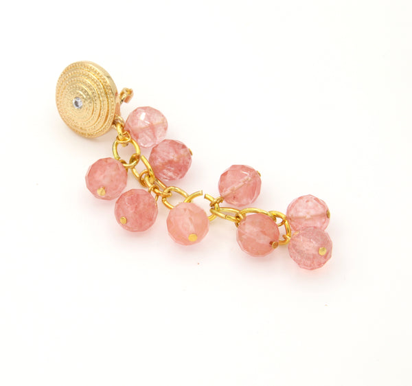 CHERRY PINK QUARTZ GEMSTONE ASYMMETRICAL GOLD HANDMADE EARRINGS