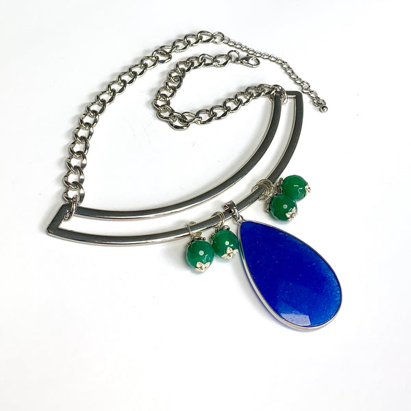 ROYAL BLUE JADE SILVER STATEMENT NECKLACE