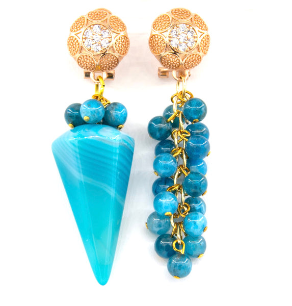 AGATE AND APATITE ASYMMETRICAL GOLD HANDMADE EARRINGS