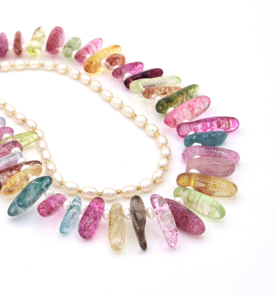 MULTICOLOUR QUARTZ AND PEARL HANDMADE NECKLACE