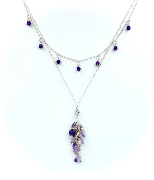 DELICATE DOUBLE CHAIN AMETHYST GEMSTONE HANDMADE STERLING SILVER NECKLACE