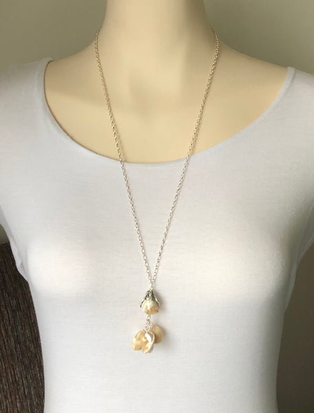 Shell beads silver necklace