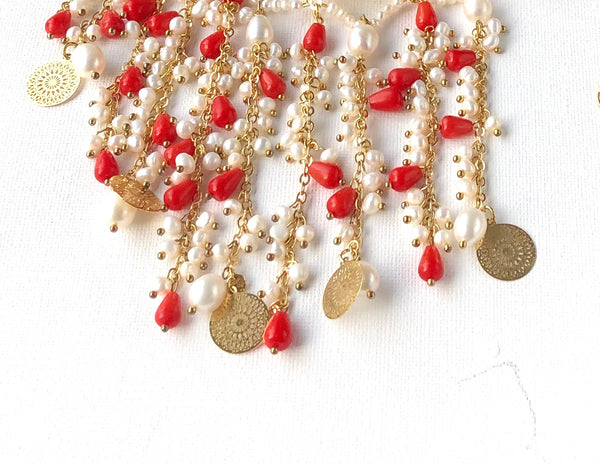 CORAL PEARL STATEMENT NECKLACE