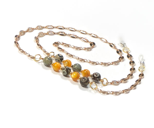 SHELL JASPER GOLD EYEGLASS CHAIN
