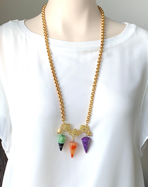 THREE COLOUR AGATE GEMSTONE HANDMADE LONG GOLD NECKLACE