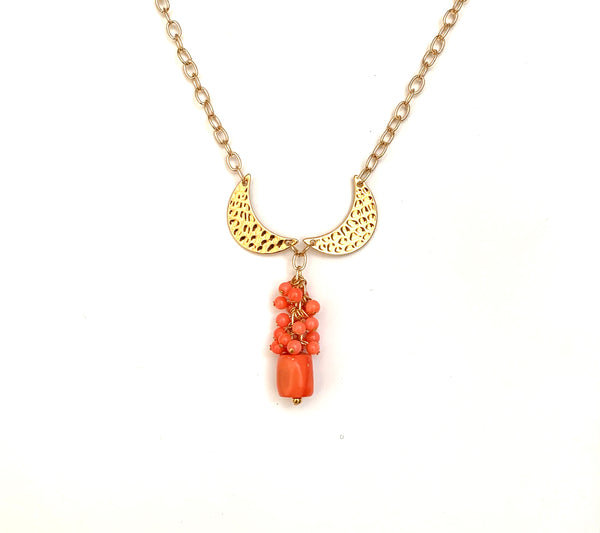 CORAL CLUSTER AND GOLD MOON HANDMADE NECKLACE