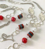 EXTRA LONG SILVER CHAIN RED AGATE GEMSTONE HANDMADE NECKLACE