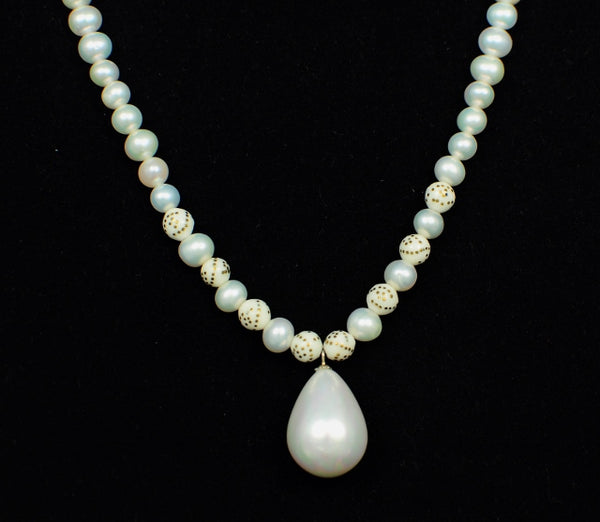 PEARL IN STERLING SILVER HANDMADE NECKLACE