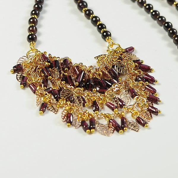UNIQUE GARNET GEMSTONE HANDMADE DROP GOLD NECKLACE