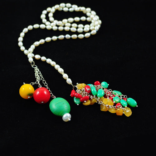 GEMSTONE AND PEARL LONG HANDMADE NECKLACE