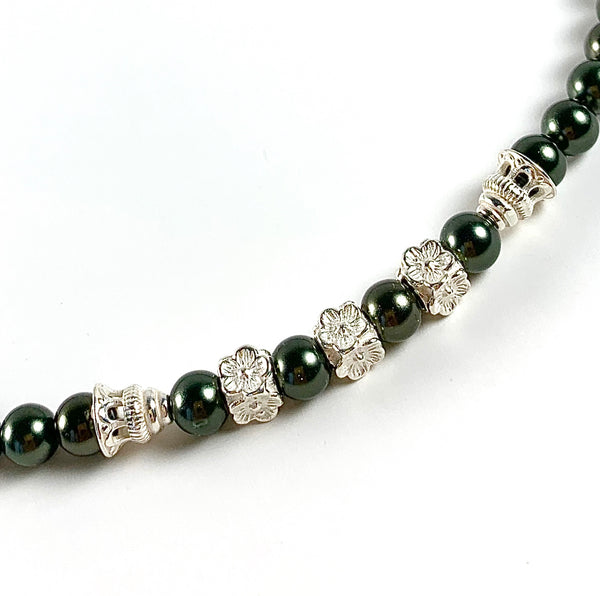 DARK OLIVE GREEN MOTHER OF PEARL STERLING SILVER HANDMADE CHOKER