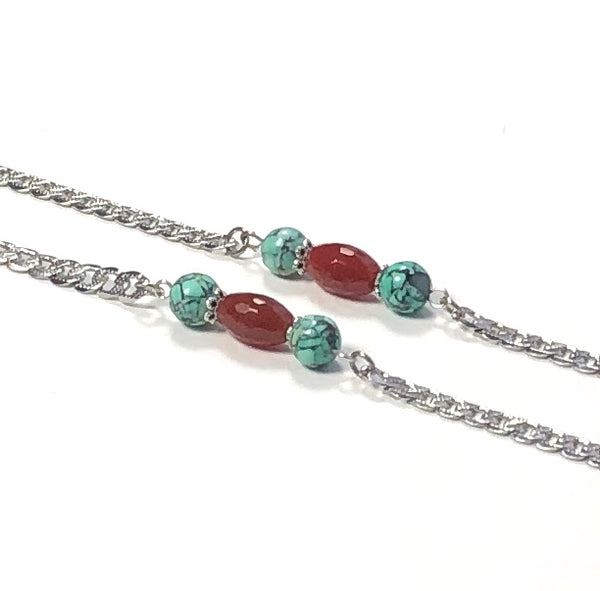 AGATE TURQUOISE SILVER EYEGLASS CHAIN