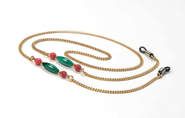 MALACHITE JASPER HANDMADE GOLD EYEGLASS CHAIN