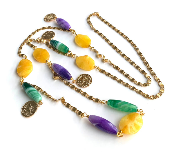 GREEN PURPLE AGATE AND JADE GEMSTONE LONG HANDMADE GOLD NECKLACE