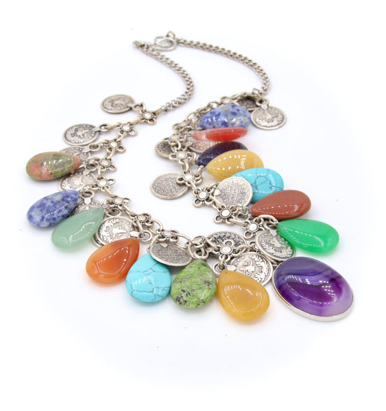 COLOURFUL MULTI GEMSTONE HANDMADE SILVER NECKLACE