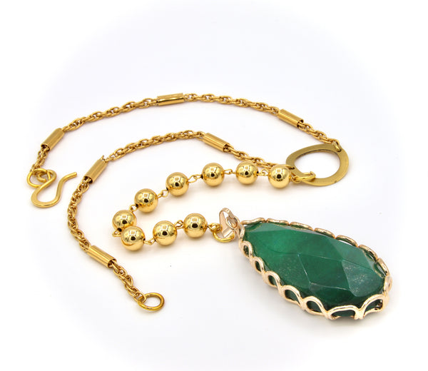 LARGE GREEN JADE PENDANT LONG GOLD HANDMADE NECKLACE