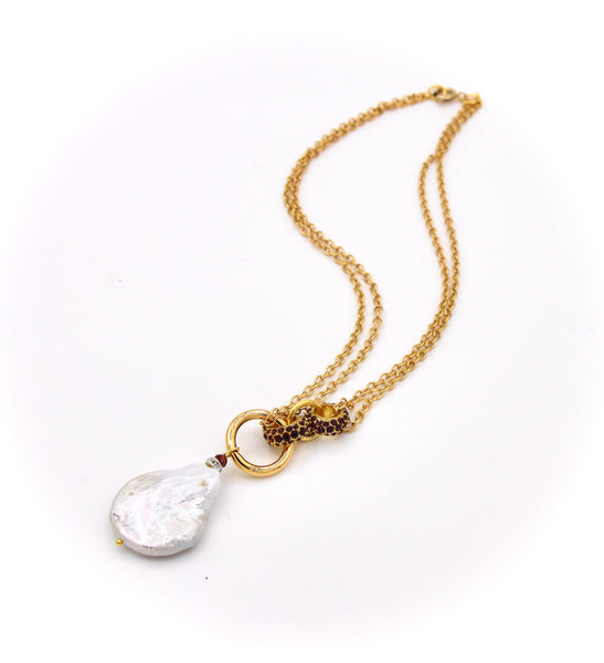 UNIQUE PEARL AND RHINESTONE DOUBLE CHAIN GOLD NECKLACE