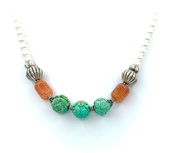 GREEN TURQUOISE AND PEARL STERLING SILVER HANDMADE NECKLACE