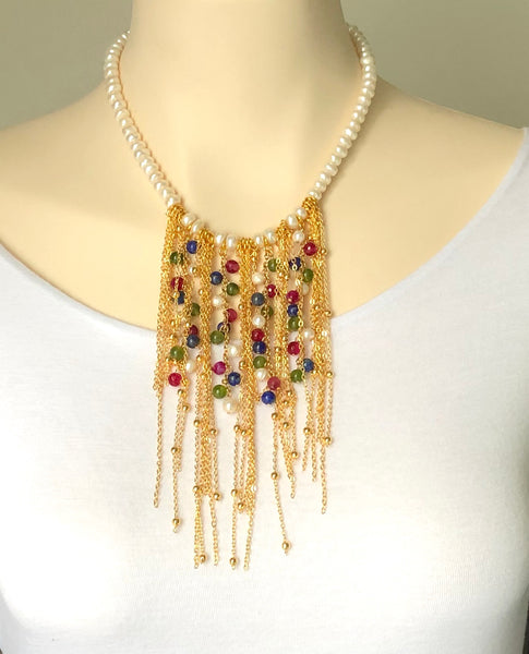 GOLD AND STONE STATEMENT NECKLACE