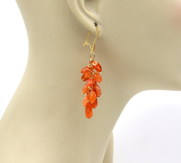 AGATE AND CARNELIAN GEMSTONE GOLD HANDMADE EARRINGS