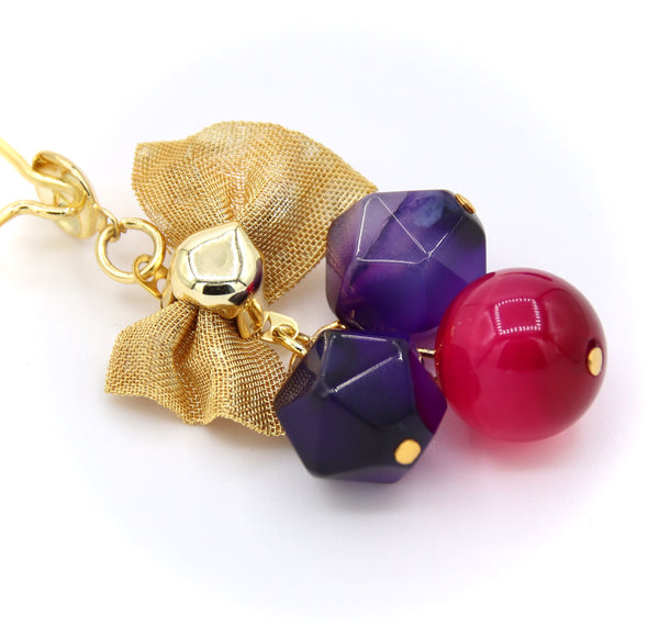 PURPLE AGATE AND JADE GOLD HANDMADE EARRINGS