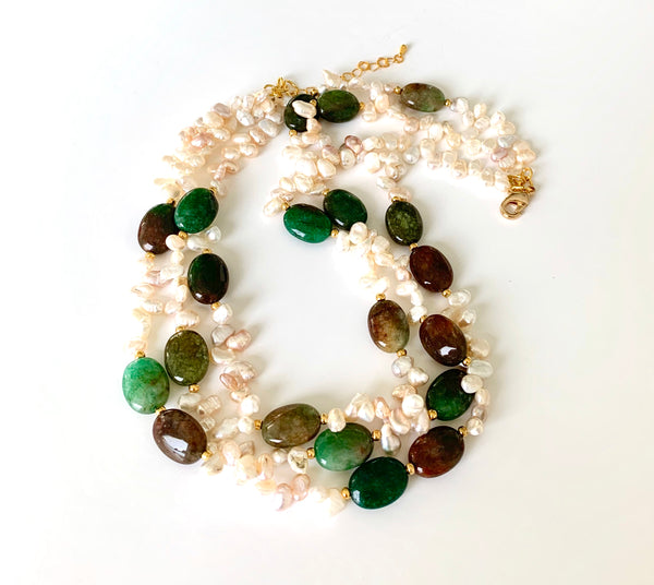 TRIPLE STRANDS AGATE AND PEARL HANDMADE GOLD NECKLACE