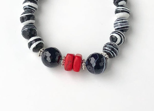 BLACK AND WHITE JASPER GEMSTONE HANDMADE STRETCH BRACELET