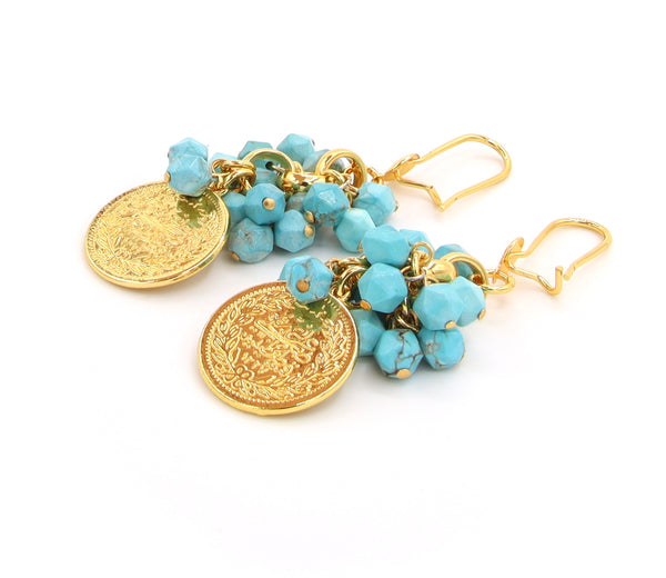 TURQUOISE AND GOLD COIN HANDMADE EARRINGS
