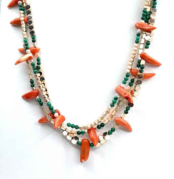 CORAL MALACHITE HEMATITE GEMSTONE HANDMADE GOLD NECKLACE