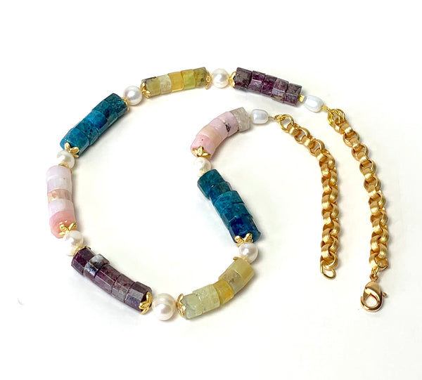 MULTICOLOUR GEMSTONE GOLD NECKLACE