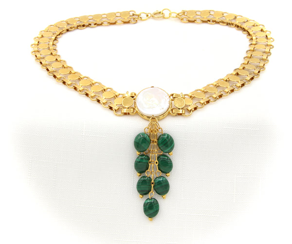 PEARL AND MALACHITE STATEMENT GOLD HANDMADE CHOKER