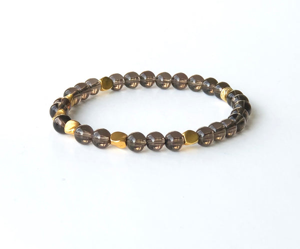 SMOKEY QUARTZ GOLD BRACELET SET
