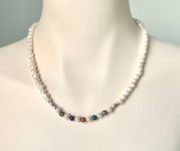 PEARL AND COLOURFUL ENAMELED GOLD BEAD HANDMADE NECKLACE