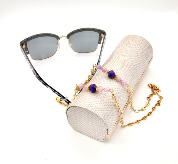 AGATE AND QUARTZ GEMSTONE HANDMADE GOLD EYEGLASS CHAIN