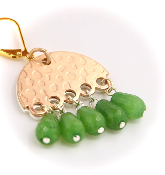 GREEN TEARDROP JADE VINTAGE STYLE HANDMADE EARRINGS