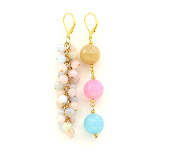 PASTEL COLOURS GEMSTONES ASYMMETRICAL GOLD HANDMADE EARRINGS