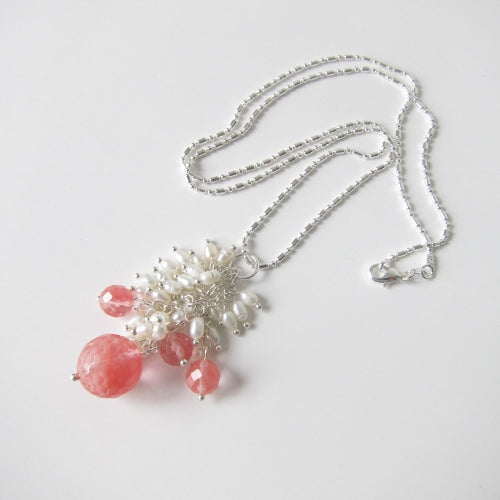 PINK QUARTZ STERLING SILVER NECKLACE